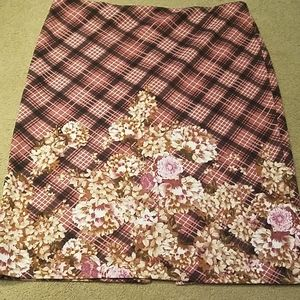 Cato 16 Skirt Plaid and Floral pink black tan